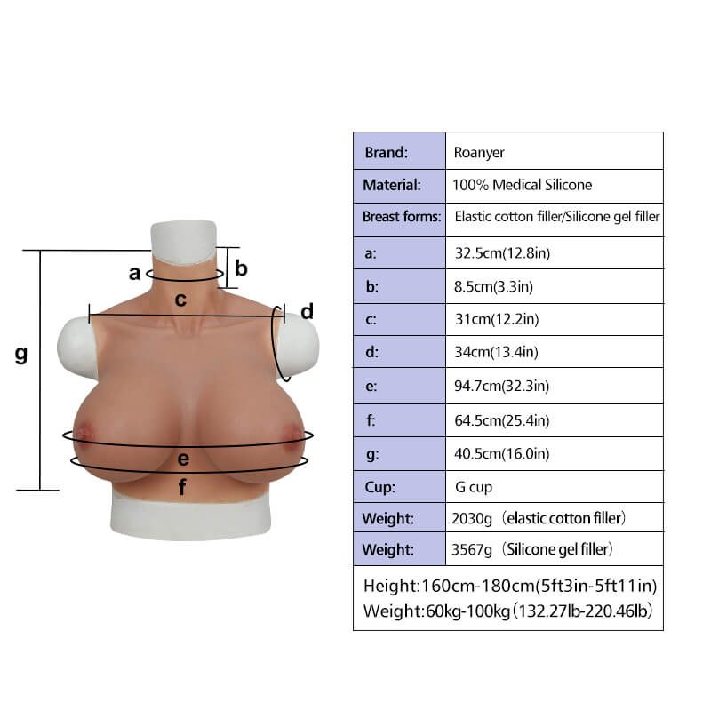 G Cup Breast East West Shape