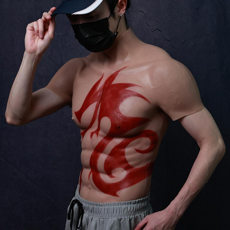 Realistic muscle vest with red dragon tattoo