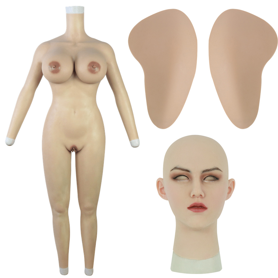 H Cup Bodysuit with Arms + May Realistic Silicone Mask + Large Silicone Hip Pads