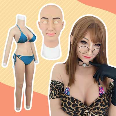 E cup bodysuit with arms and Ria Mask Easy cross-dressing